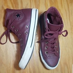 Converse maroon leather high tops, faux fur lined